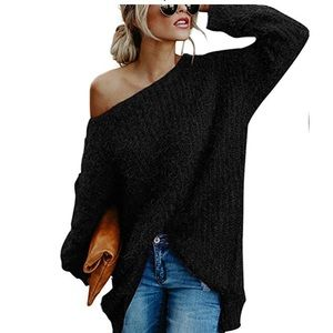 Sweaters - Black Oversized Off Shoulder Sweater
